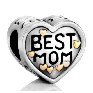 Pugster Heart Best Mom Charms Beads Fit Pandora Chamilia Biagi Charms