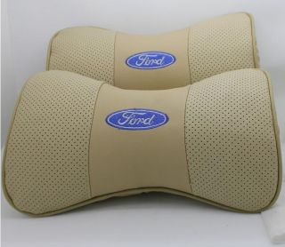 Cow Leather Car Seat Neck Covers Soft Headrest Pillows