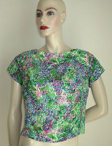 50s Vintage Green Purple Impressionist Silk Cap Sleeve Crop Blouse Top