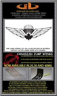 Canadian Airborne Wings Airbrush Stencil Template Motorcycle Paint New