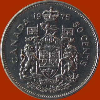 1976 canadian fifty 50 cent coin au+