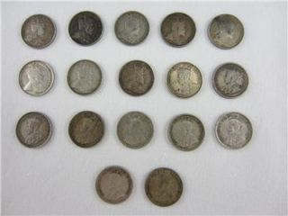 1902 1920 Silver Canada Canadian Nickel 5 Cent Coin Lot of 17 No