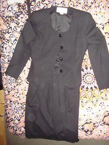 Vintage Vtg Black Wool Tweed Christian Dior Skirt Blazer Jacket The