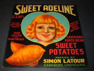 25 Old Sweet Adeline Louisiana Sweet Potatoes Labels