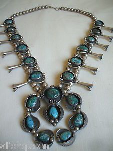 NAVAJO SterlingSilver CANDELARIA TURQUOISE Squash Blossom Necklace