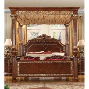 Grand Castle Fabric Wave Canopy Queen Bed Cherry w Gold Accents Poster