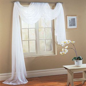 White 1 Pcs. crushed Sheer Voile Window Panel Solid scarf valance