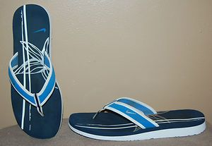 NIKE WOMENS CANET THONG FLIP FLOP SANDALS NAVY BLUE SILVER WHITE SHOES