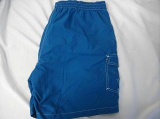 Caribbean Joe Mens Pacific Blue Board Shorts Swim Trunks Size L G