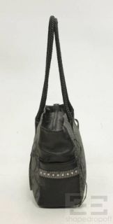CHI By Carlos Falchi Grey & Black Snakeskin and Leather Tote Bag
