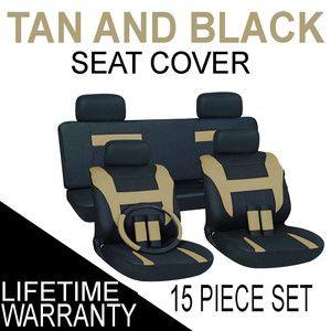 15pc Set Tan Black Auto Car Seat Covers Free Steering Wheel Belt Pads