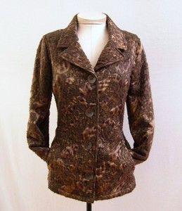 Carlisle New $595 Cozy Copper Brown Animal Print Belted Jacket Coat Sz