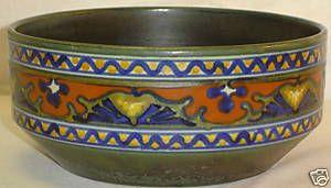 Antique Gouda Candia Holland Dutch Art Pottery Large Bowl Excellent