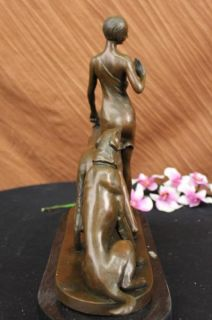 Signed Canova Lovely Lady Walking Her Dogs Bronze Art Nouveau Marble