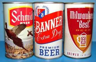Three Nice Beer Cans Mixed Lot Top Grade Great Colors Shiny Lids and