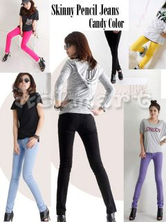 Lady Sexy Candy Color Skinny Pencil Jeans Stretchy Slim Leggings Pants