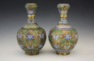 PAIR ANTIQUE CHINESE RAISED GILT BRASS CLOISONNE & ENAMEL GOURD FORM