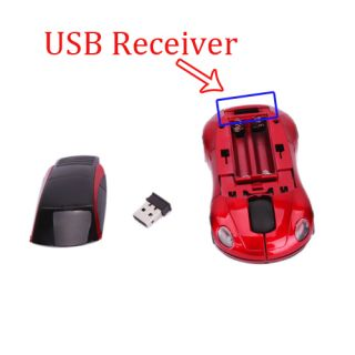 7300 2 4G Car Wireless Mouse Mic for Laptop Notebook Red Mini Receiver