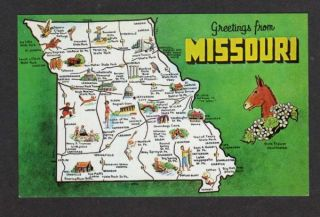 MO Greetings from Missouri State Map Rolla Branson PC
