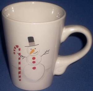 Holiday Christmas Xmas Snowman Candy Cane Coffee Mug Cup Julie Scott