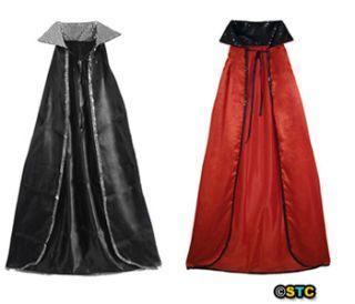 52 Black Sequin Red Cape ~ HALLOWEEN DEVIL, VAMPIRE, MAGICIAN COSTUME