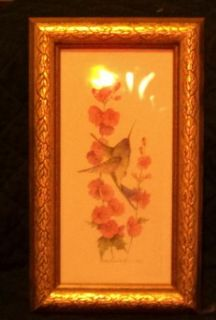 Carolyn Shores Wright Hummingbird Pink Flowers Wall Plaque 1995