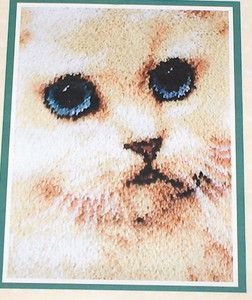Caron Big Blue Eyed Kitty Cat Profile Latch Hook Kit NIP 20x27