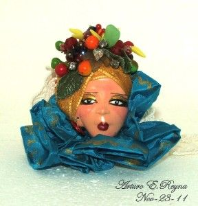 Artisan Arturo E Reyna Carmen Miranda Lady Face Head Hand Painted