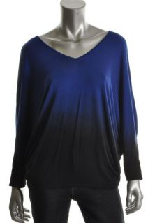 Capote New Blue DIP Dye Dolman Sleeve V Neck Knit Top L BHFO
