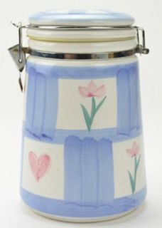 Hand Painted SEALED Canister 10 Blue White Pink Hearts Kitchen