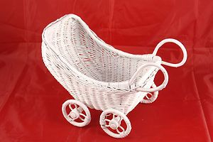 Vintage White Wicker Baby Doll Carriage Buggy Stroller
