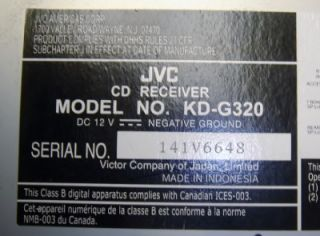 JVC CD KDG 320 Car Stereo Receiver