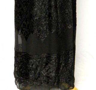 Carole Little 6 s Black Velvet Bodice Sheer Flocked Chiffon Wrap Skirt