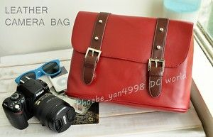 Leather Case Bag for Nikon Canon Sony DSLR Camera Red