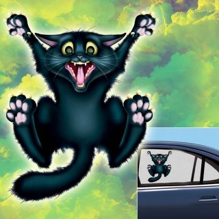 Halloween Horror Crazy Cat Car Window Cling Decoration
