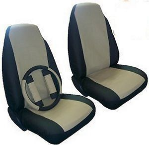 Seat Covers Car Truck SUV Synthetic Leather Tan 5 PC