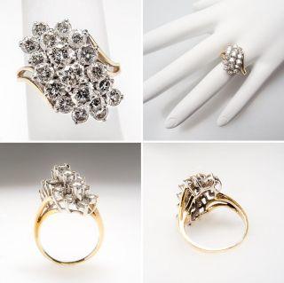 Genuine 2 Carat Diamond Cocktail Waterfall Ring 14K Gold skuwm7525