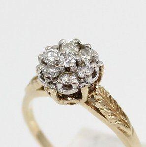 Solid 10K Yellow Gold 0 33ct Carat Diamond Cluster Filigree Ring