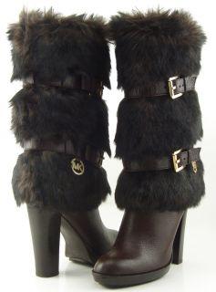 Michael Michael Kors Carlie Coffee Faux Fur Womens Designer Mid Calf