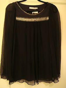 NWT Miele by Carlos Miele Black Silk Embellished Shirt 38 4