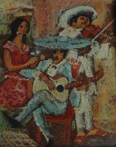 Lot of 2 Paintings Colombian Artist Carlos Lopez Ruiz