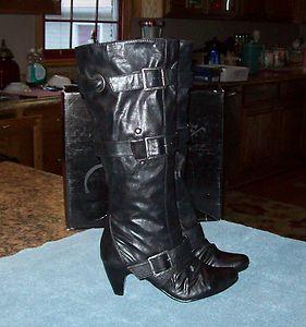 Carlos Santana Black Side Buckle Knee High Boots 6 New