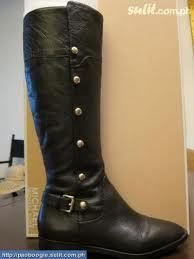 Michael Kors Black Carney Riding Boots MK Logo Details Size 5 5 Fast