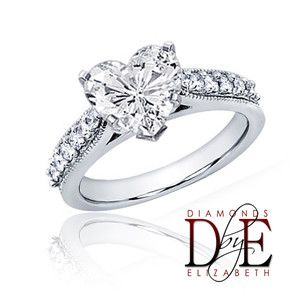 Diamond Engagement Ring 1 05 Carat Total Heart Shape 14k White Gold