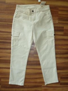 Talbots Signature Fit Ivory Khaki Stretch Cargo Capris Cropped Pant