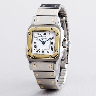 Ladies Cartier Santos 18K Yellow Gold Stainless Steel Automatic Watch