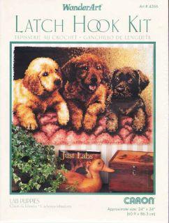Caron Wonderart Latch Hook Kit 24 x 34 Lab Puppies Rug Sale 4386
