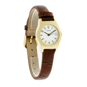 Carriage by Timex Ladies Gold Tone Brown Leather Band Dress Quartz