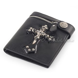 Cross Leather Wallet Purse Zip Badge Bifold Coin Cash Pocket