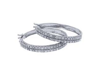 Womens 1 Carat Brilliant Round Cut Diamond Hoop Earrings White Gold